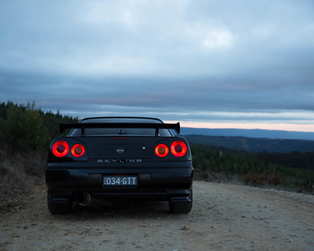 nissan skyline, r34, road, car, black car, nature