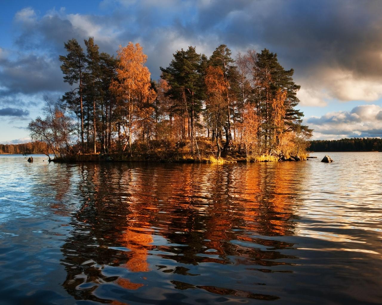 озеро, остров, vuoksa lake, leningrad region, priozersky district, деревья, природа
