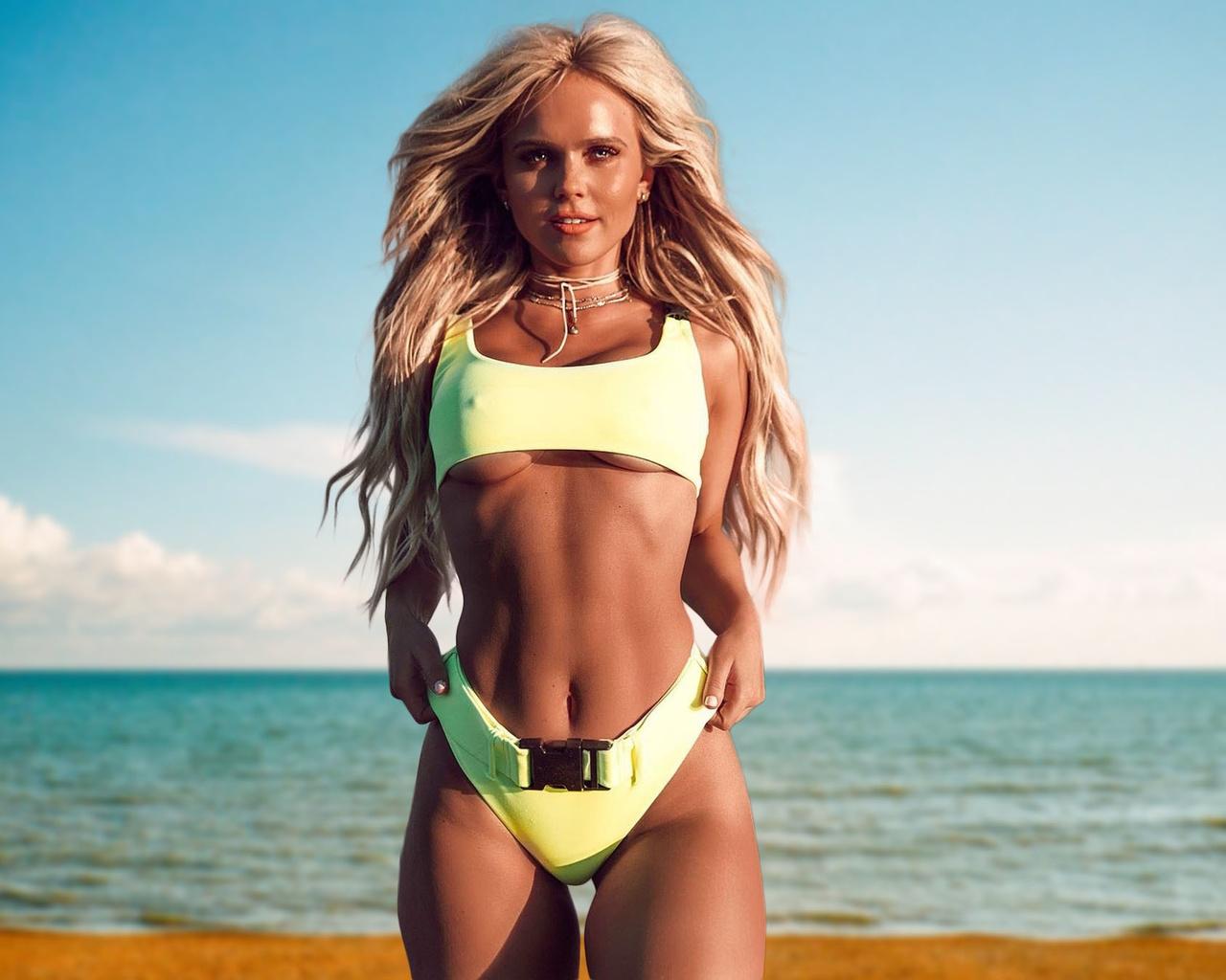girl, blonde, beautiful, sexy, cute, perfect, bikini, hips, pretty, long hair, beauty, tanned, boobs, model, beach, hilde osland