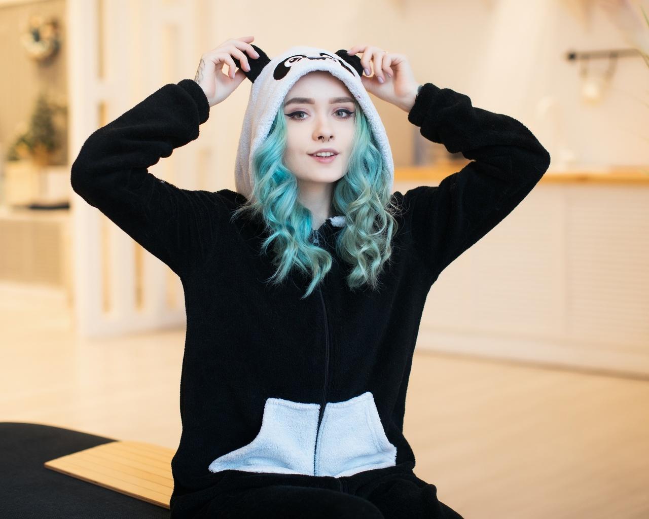 suicide girls, синие волосы, пижама