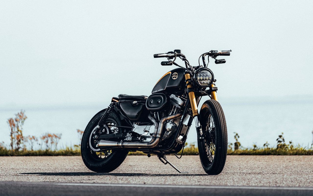 мотоцикл, байк, черный