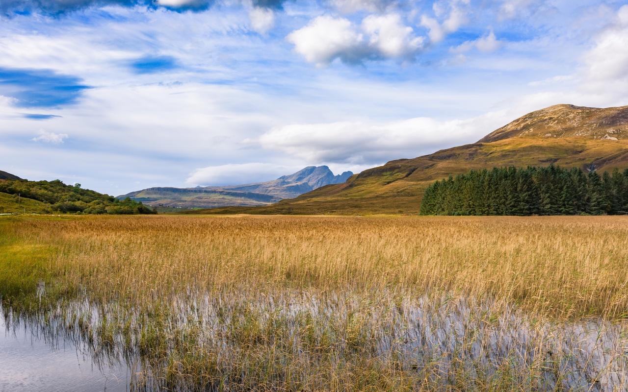 гора, настроение, отдых, холмы, облака, трава, пруд