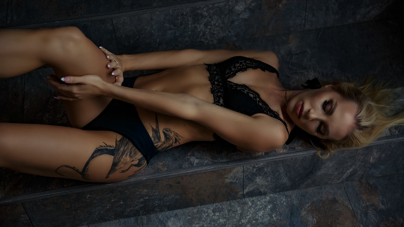 women, blonde, brunette, stairs, women indoors, black lingerie, andrey bykov, belly, tattoo, cleavage, closed eyes, ribs