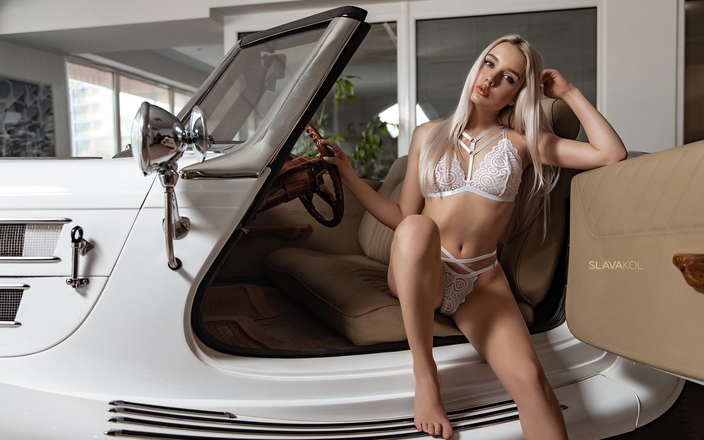 women, slava kol, blonde, eyeliner, white lingerie, belly, long hair, car, sitting, ribs, brunette, women with cars