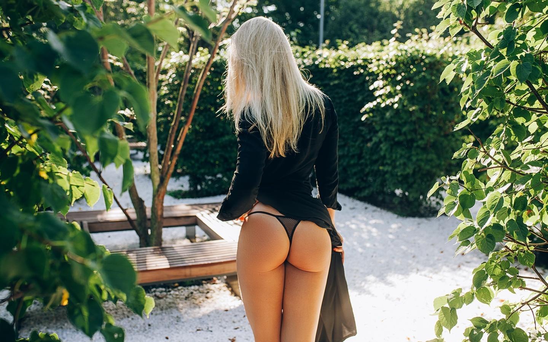 women, blonde, black lingerie, black dress, brunette, women outdoors, ass, back, red nails, leaves