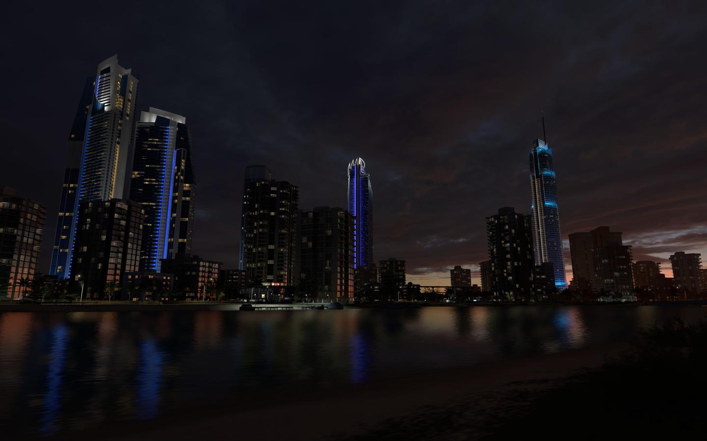город, здания, небоскребы, ночь