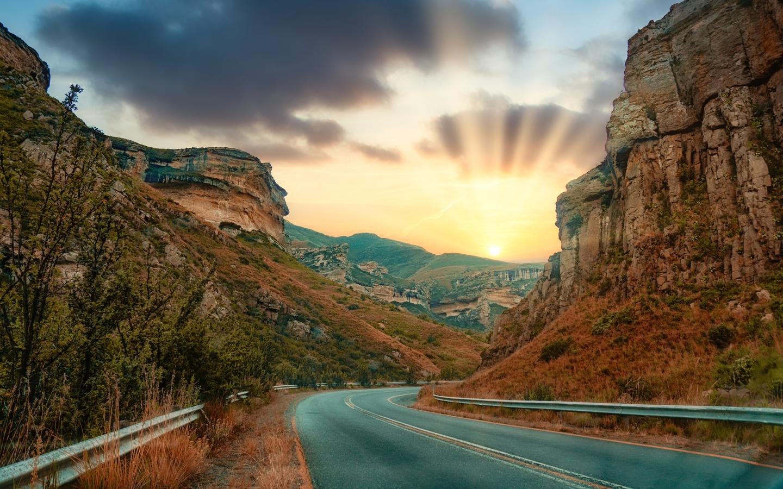 скалы, дорога, солнце, восход