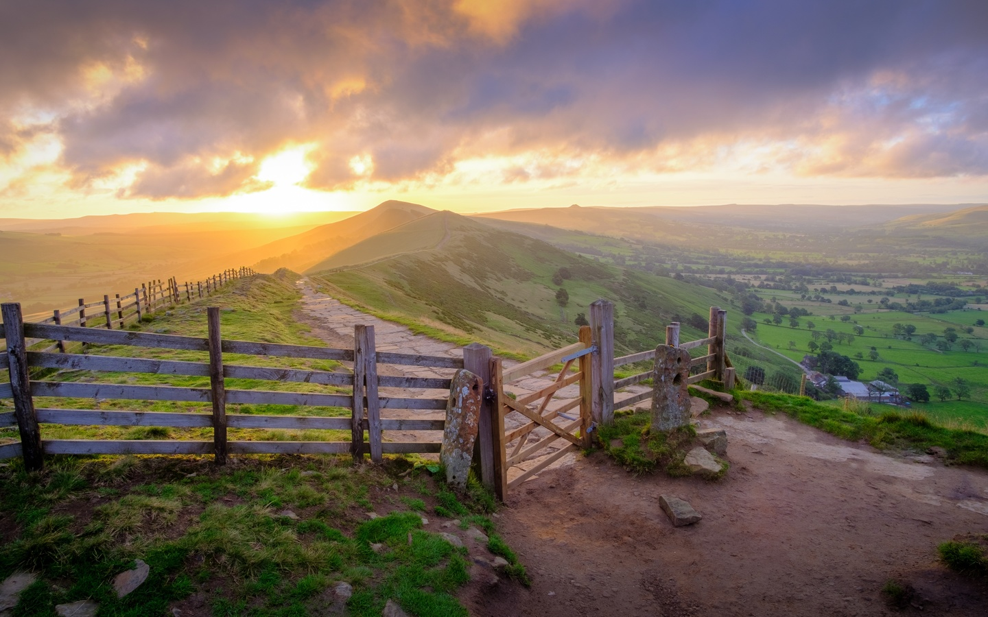 англия, peak-district, national park, derbyshire, забор, трава, холмы, горизонт, природа