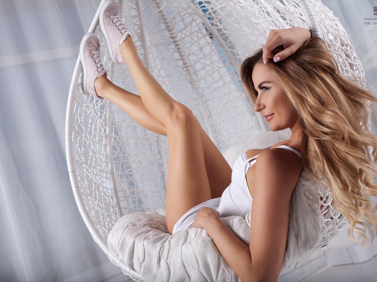 women, blonde, sergey pak, smiling, sneakers, brunette, white dress, women indoors, hammock chair, pink nails