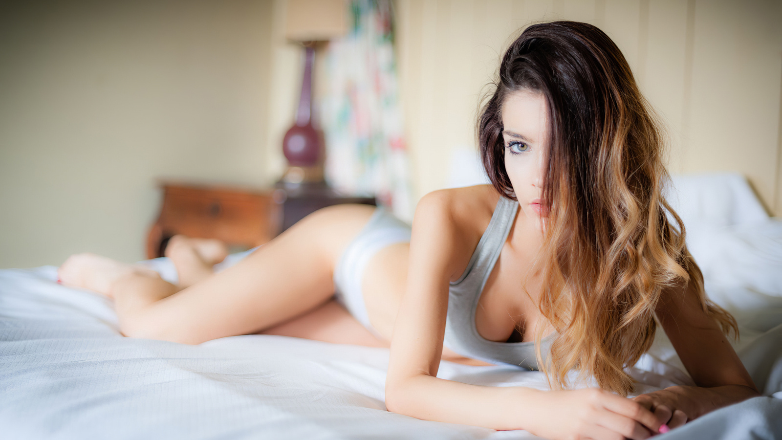 beautiful, women, cute, blonde, pretty, window, sexy, bed, model, perfect, top, panties, brunette, eyes, hot, boobs