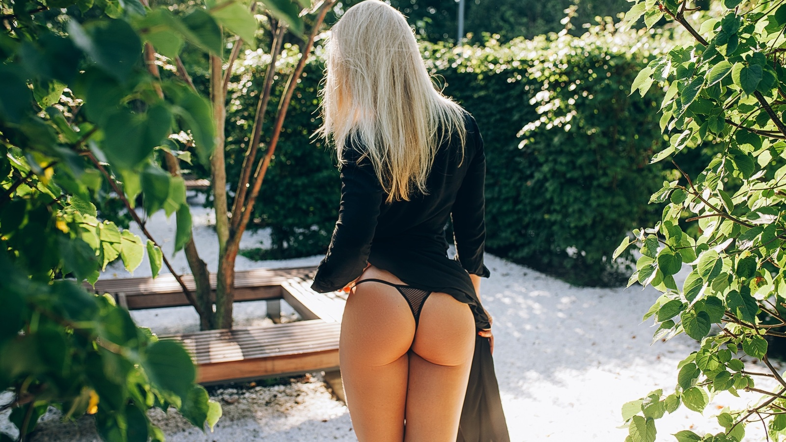 women, blonde, black lingerie, black dress, brunette, women outdoors, ass, back, red nails, leaves