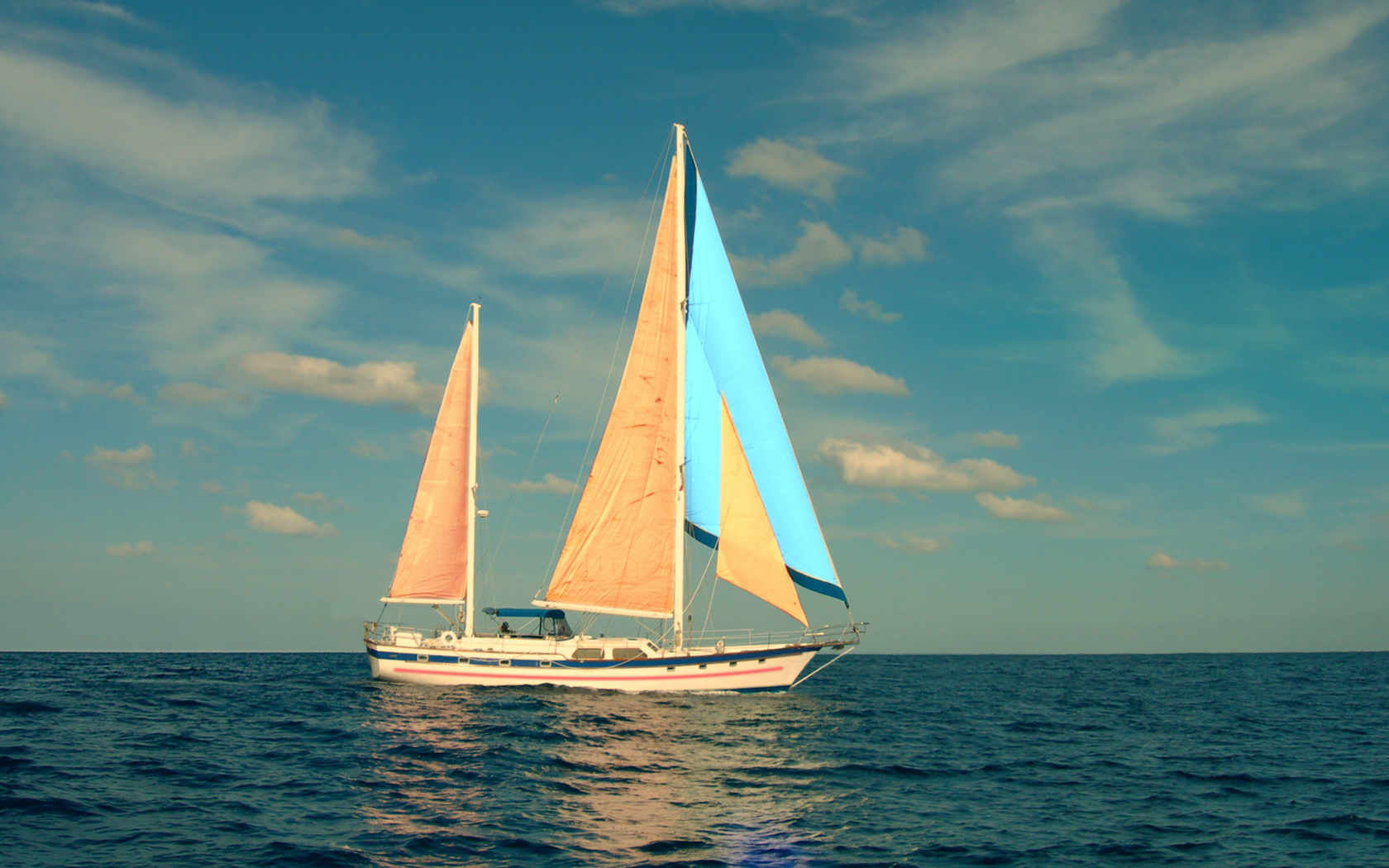 океан, паруса, небо