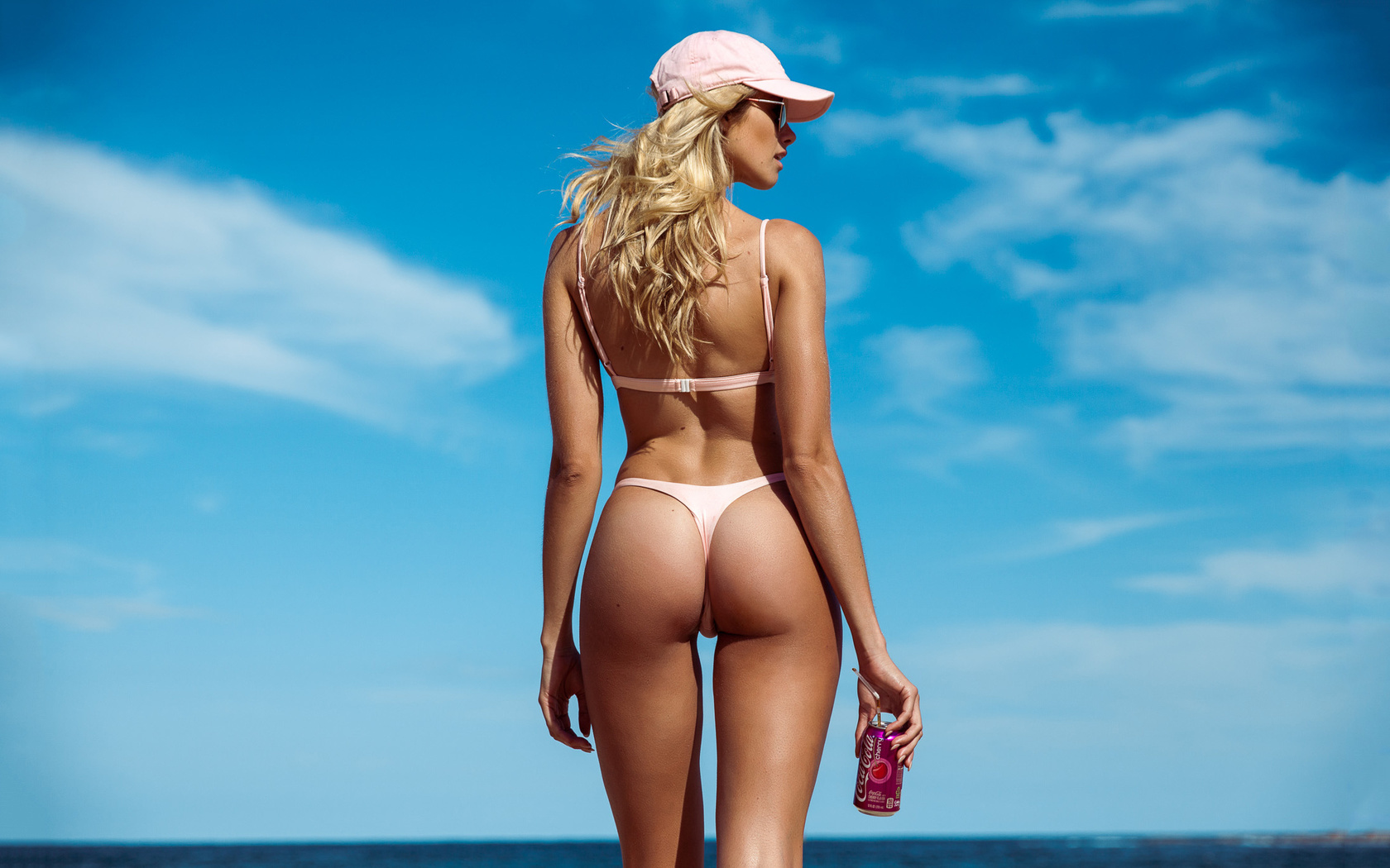 beautiful, women, cute, blonde, pretty, sexy, model, perfect, hot, ass, bikini, woman, sun, glasses, beach, cap, drink, clouds, sunglasses