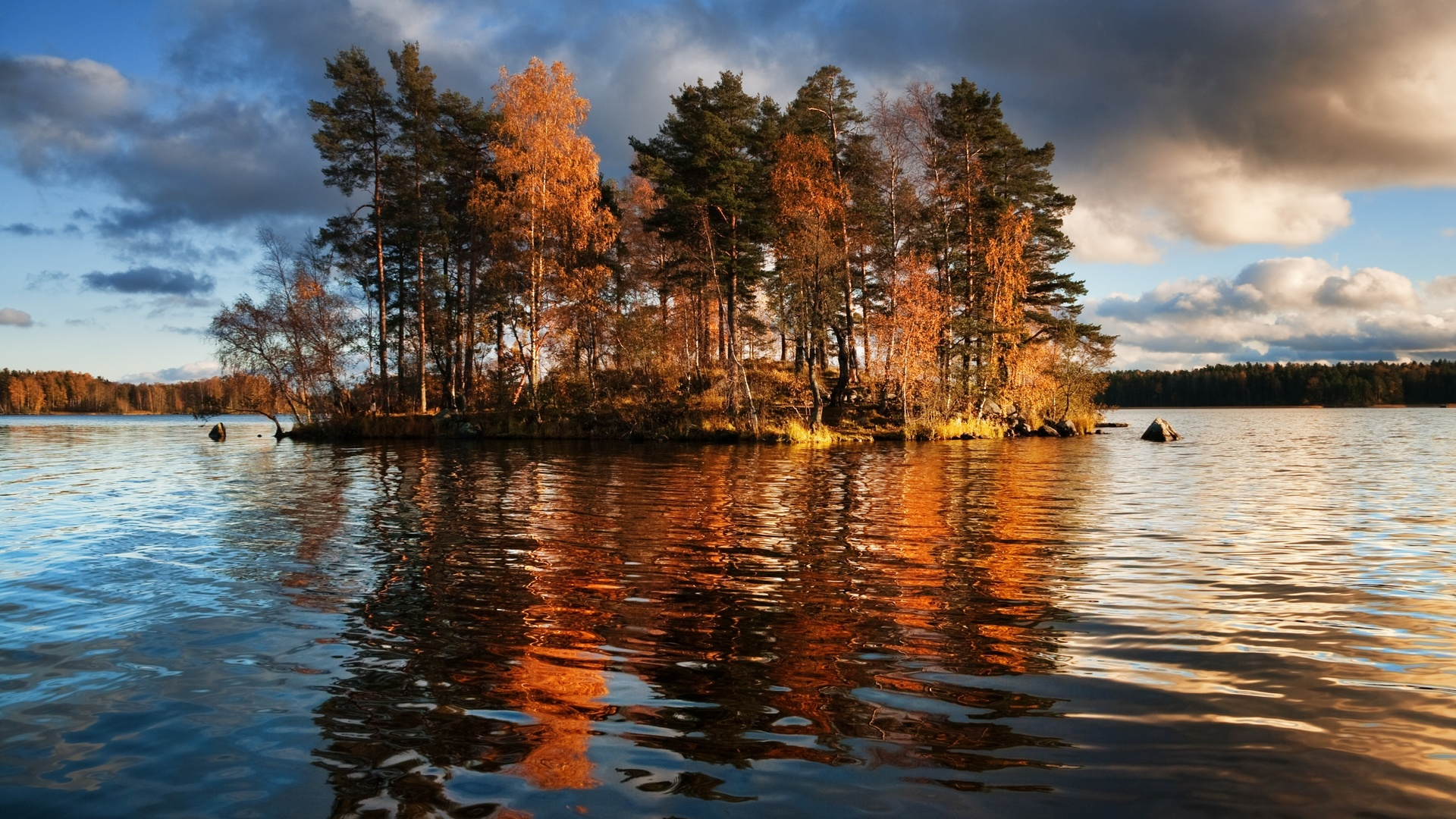 озеро, остров, vuoksa lake, leningrad region, priozersky district, деревья, природа