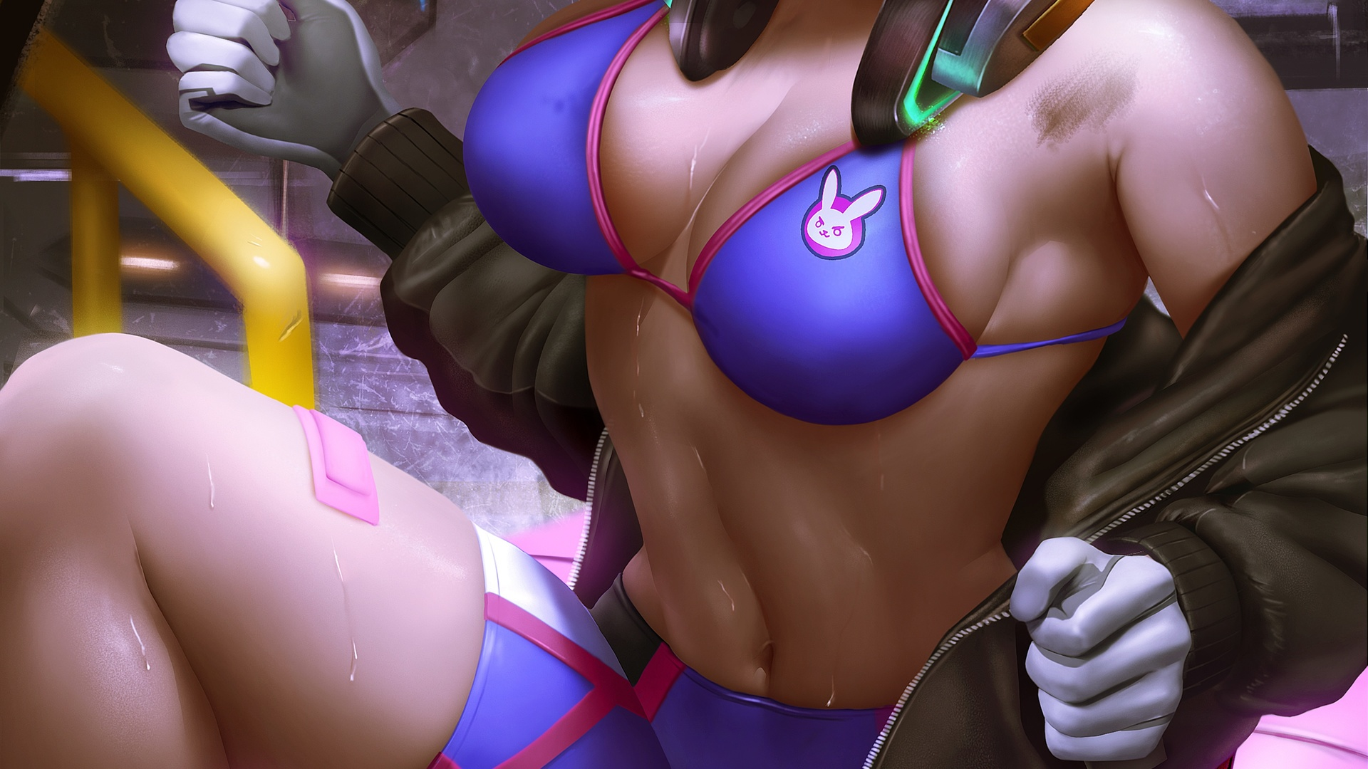 d.va, overwatch, game, boobs, girl, sexy, bra, tights, bindow, anime, window