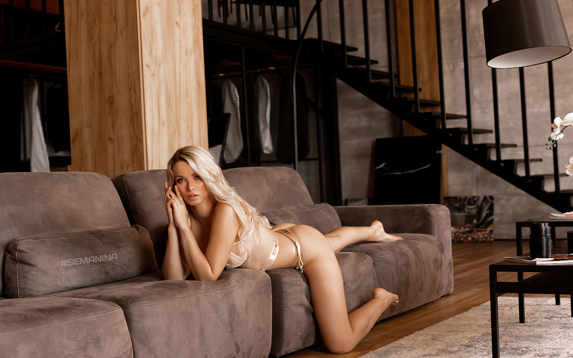 women, ekaterina enokaeva, svetlana semanina, svetlana nikonova, blonde, ass, lingerie, lamp, couch, stairs, women indoors, brunette