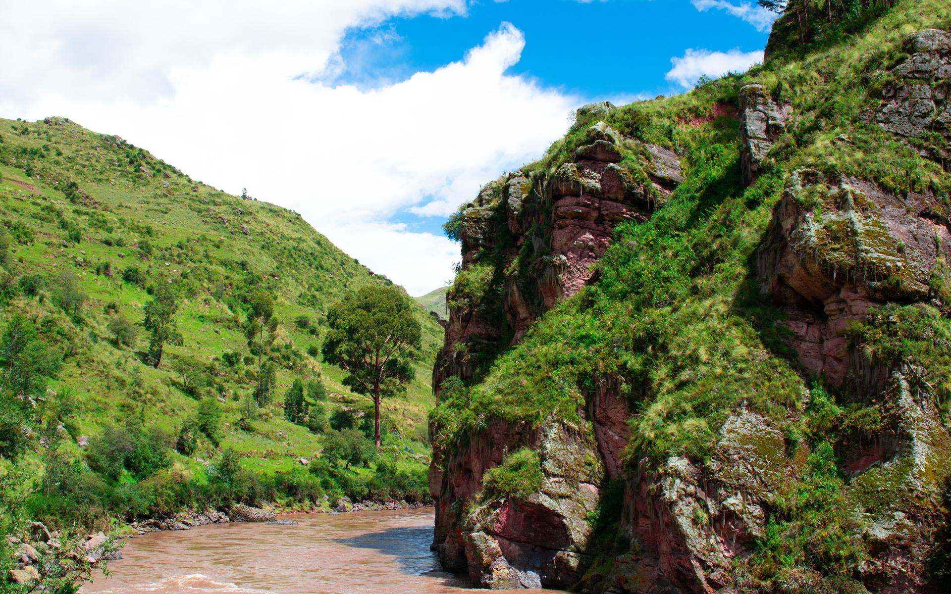 небо, река, холмы