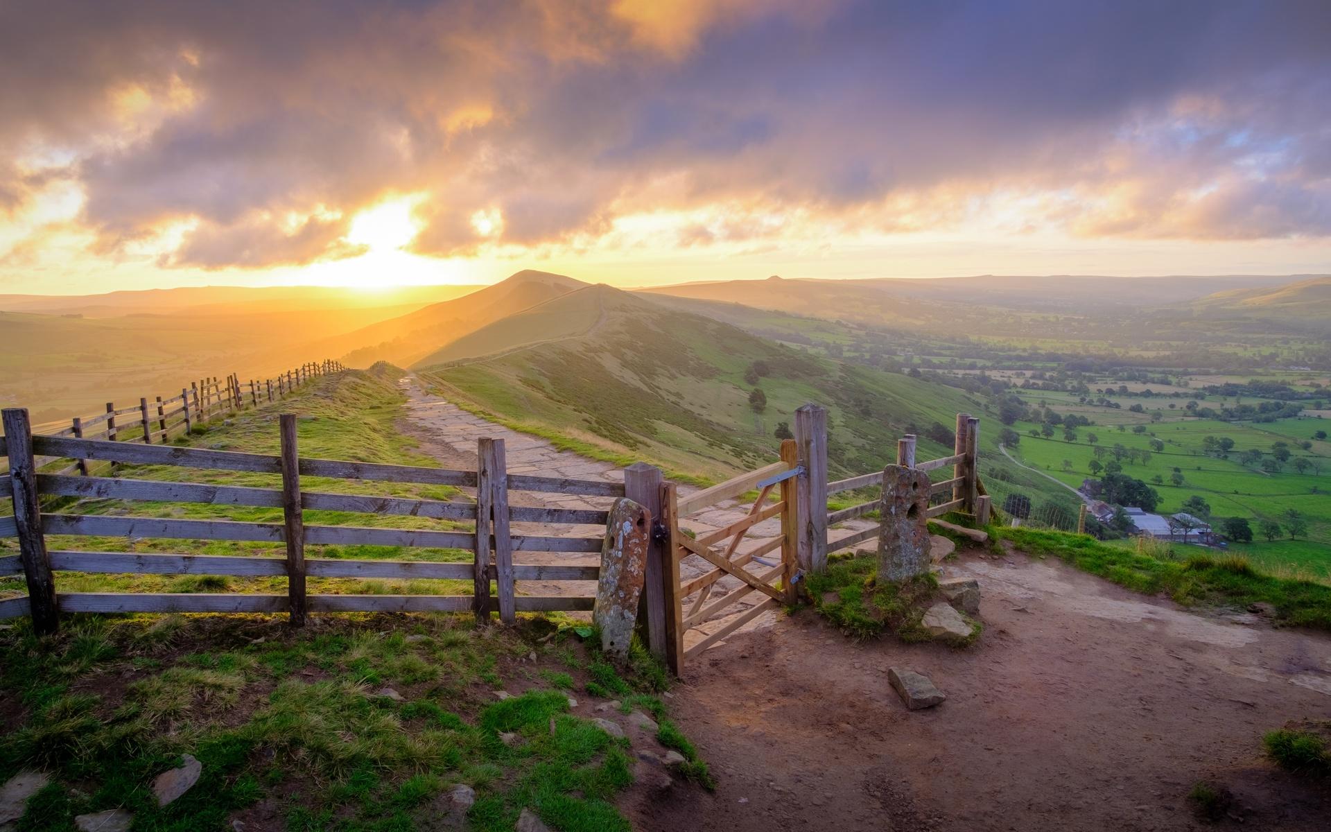 англия, peak-district, national park, derbyshire, забор, трава, холмы, горизонт, природа