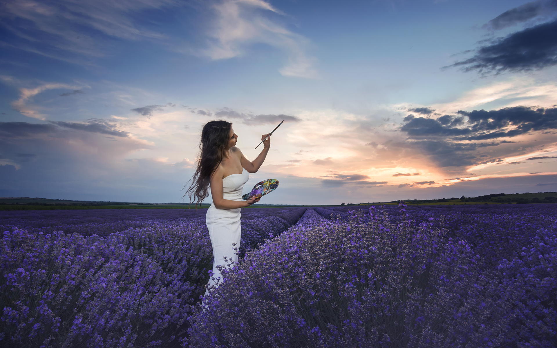 поле, небо, девушка, природа, краски, платье, шатенка, кисть, художница, лаванда
