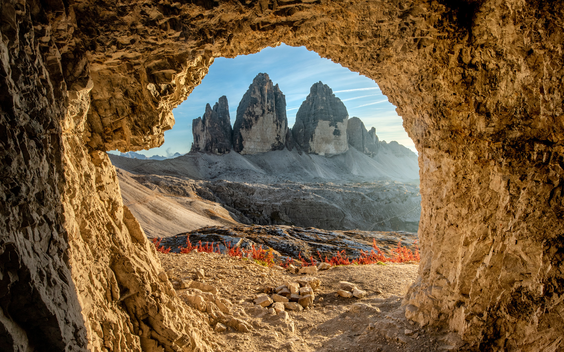 пейзаж, горы, природа, камни, италия, пещера, tre cime di lavaredo, доломиты, тре Чиме ди лаваредо