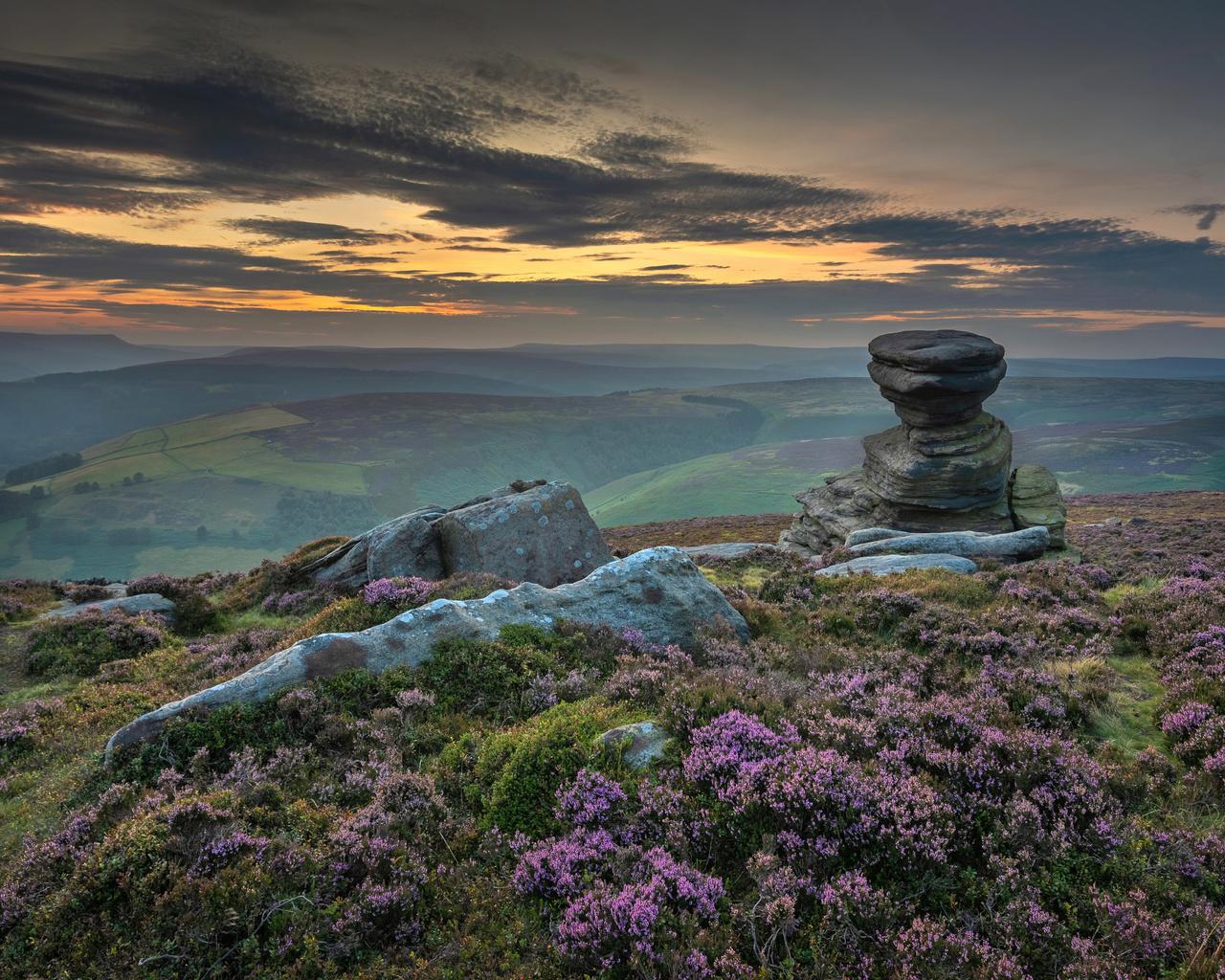 англия, камни, вечер, peak, district, холмы, облака, природа