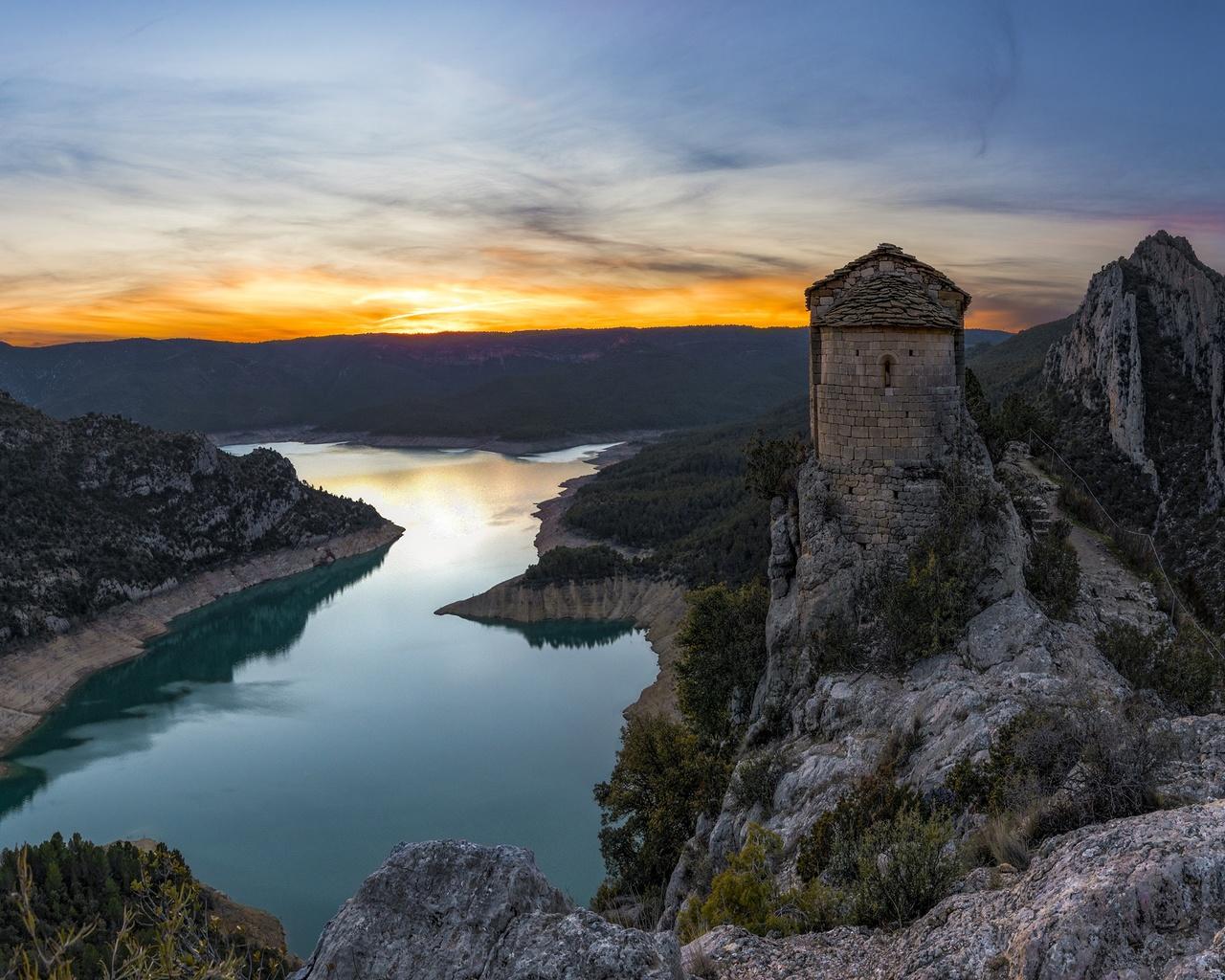 пейзаж, горы, природа, река, скалы, церковь, испания, каталония, святилище