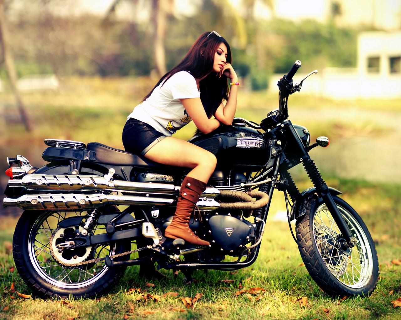 triumph, scrambler, 900, мотоцикл, девушка
