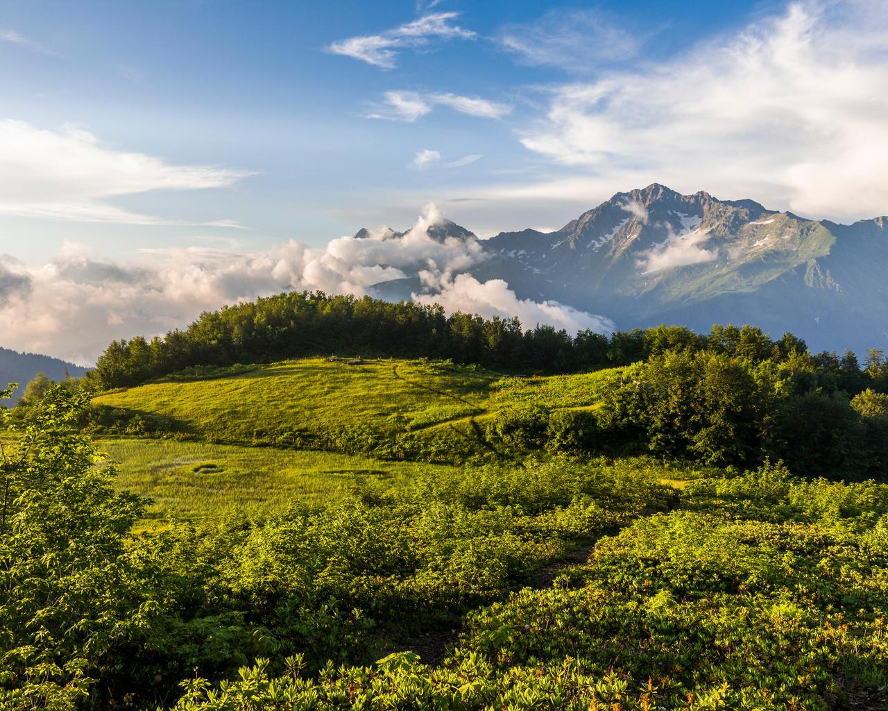 горы, krasnodar krai, mount, chugush, облака, холмы, природа