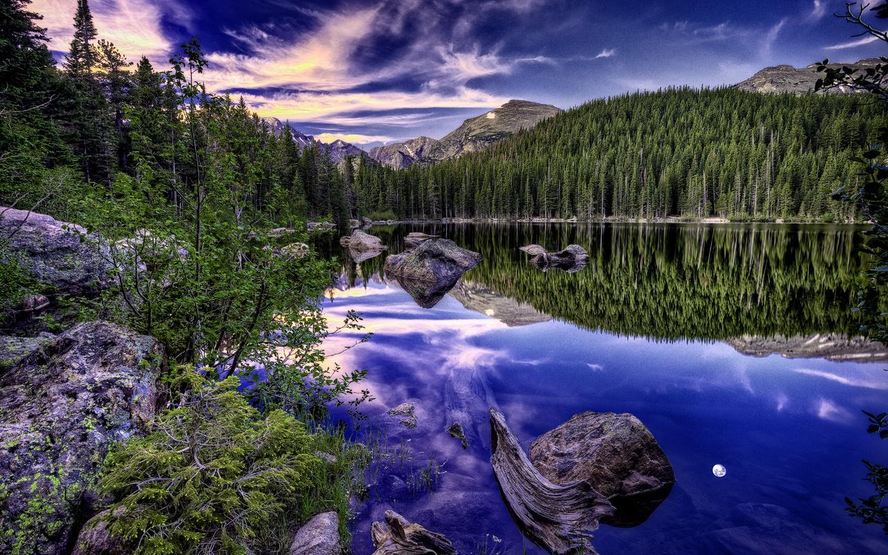 природа, озеро, горы, лес