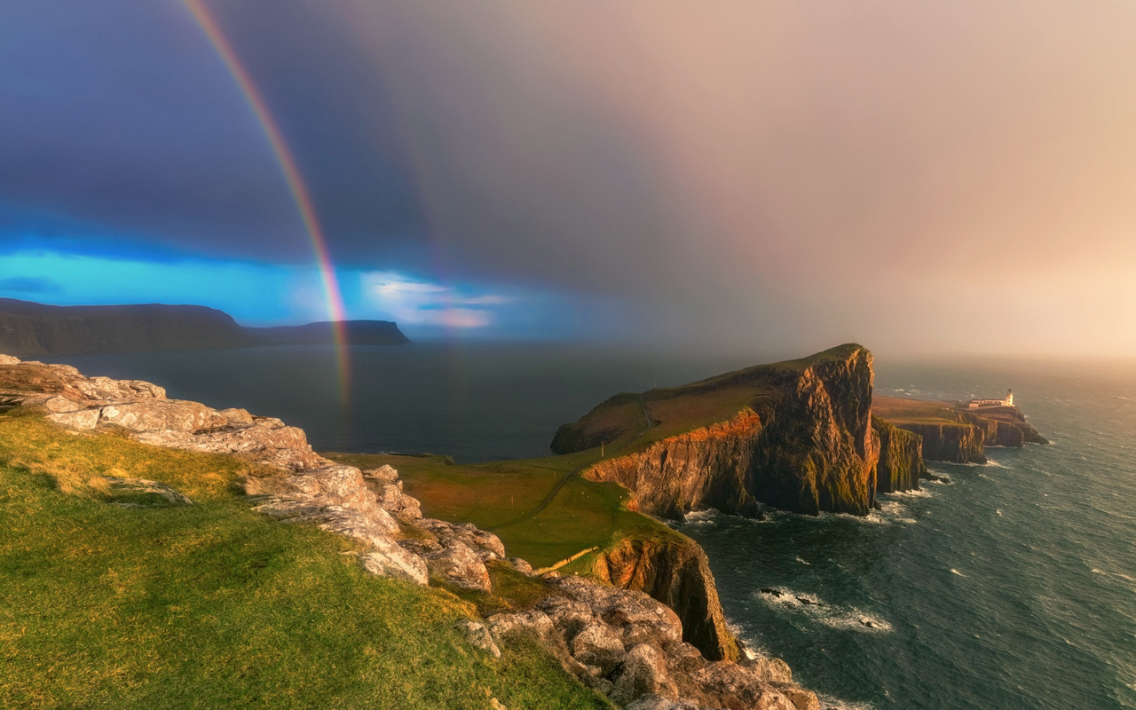пейзаж, море, небо, радуга, берег