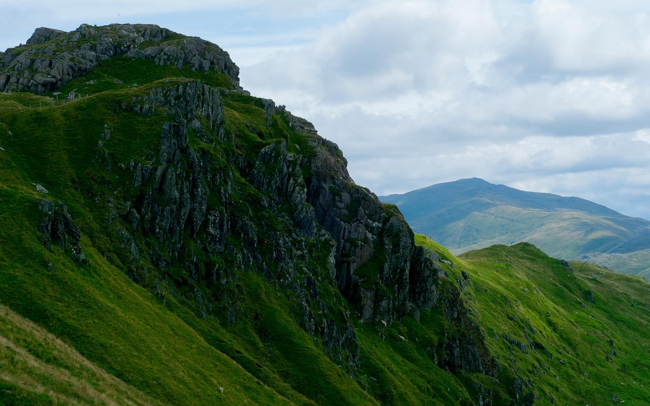 долина, скалы, горы, даль, трава