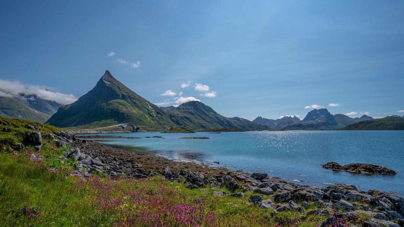 норвегия, горы, камни, небо, лофотенские, острова, fjord, природа