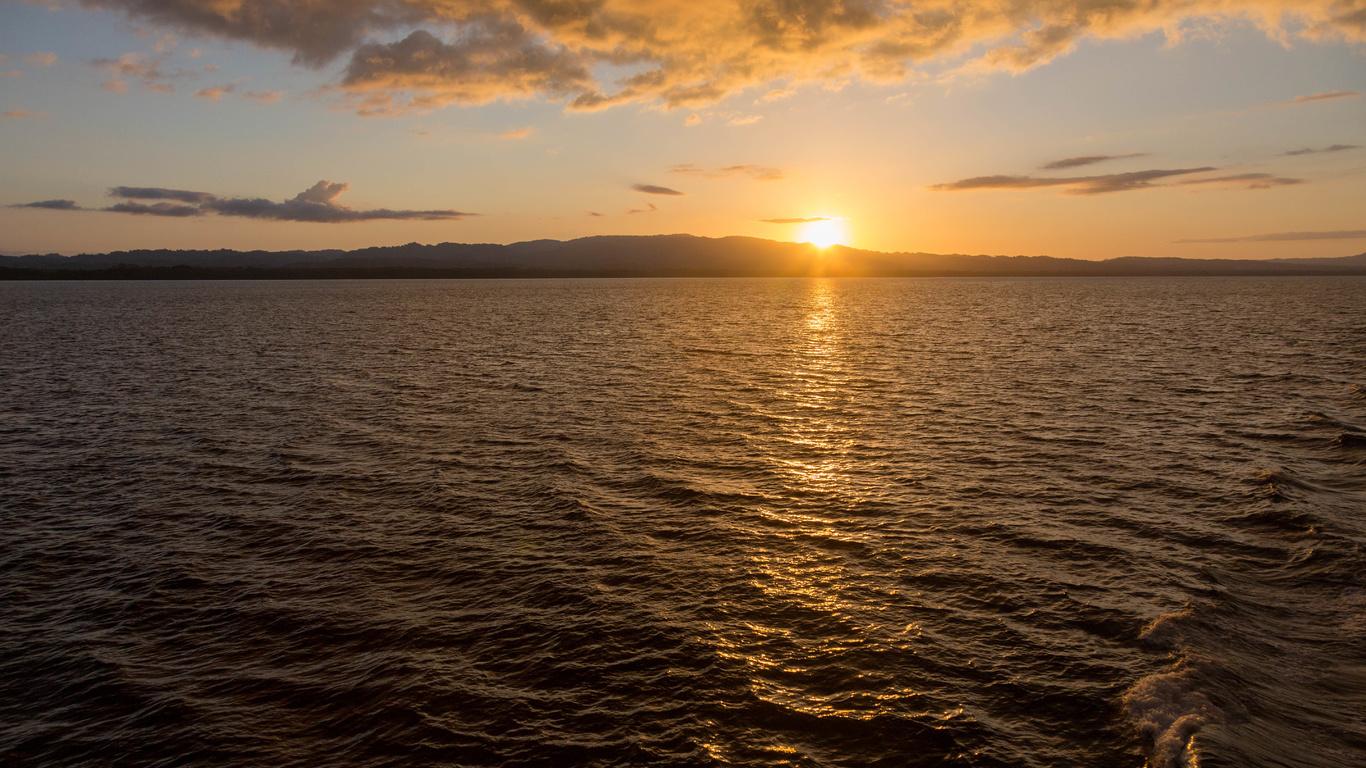 закат, блики, море, солнце, небо