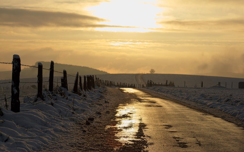 свет, дорога, снег
