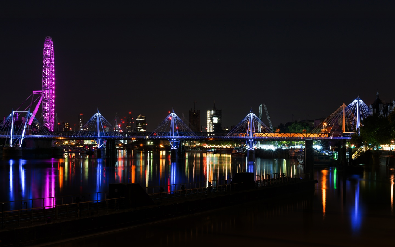 англия, мост, thames, лондон, ночь, город