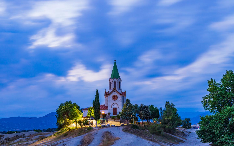 испания, храм, церковь, вечер, santuari, puig agut in manlleu, холмы, город