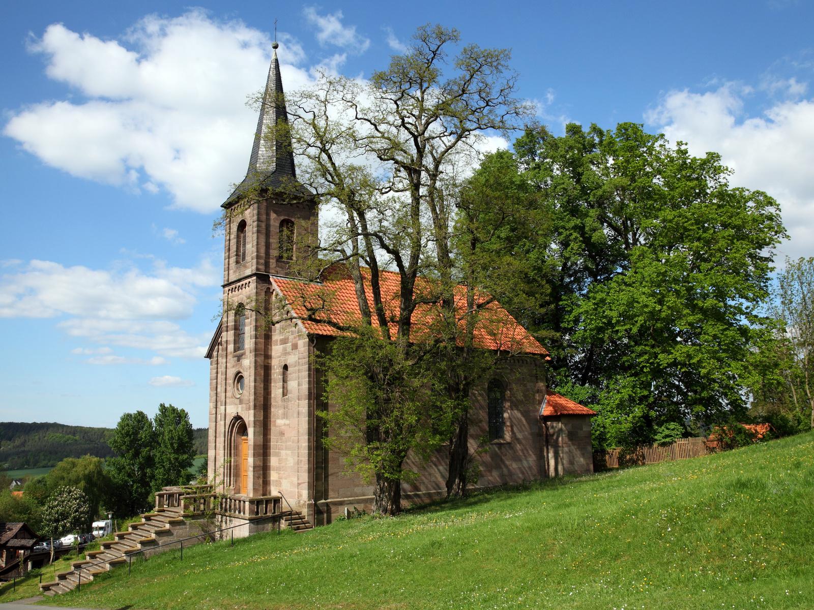 германия, церковь, bornhagen, ev. kirche, башня, деревья, город