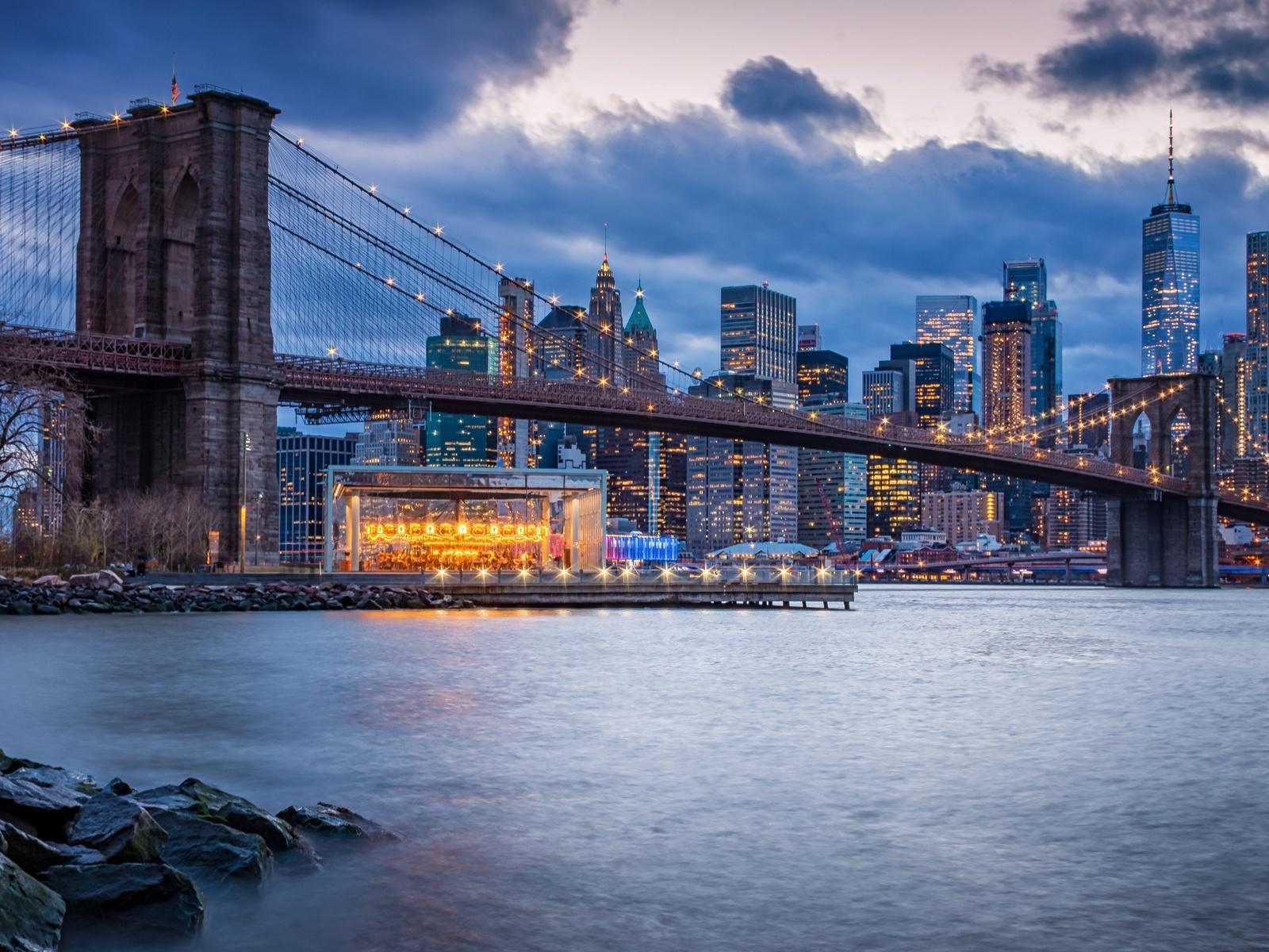 город, нью-йорк, new york, city, brooklyn bridge, бруклинский мост