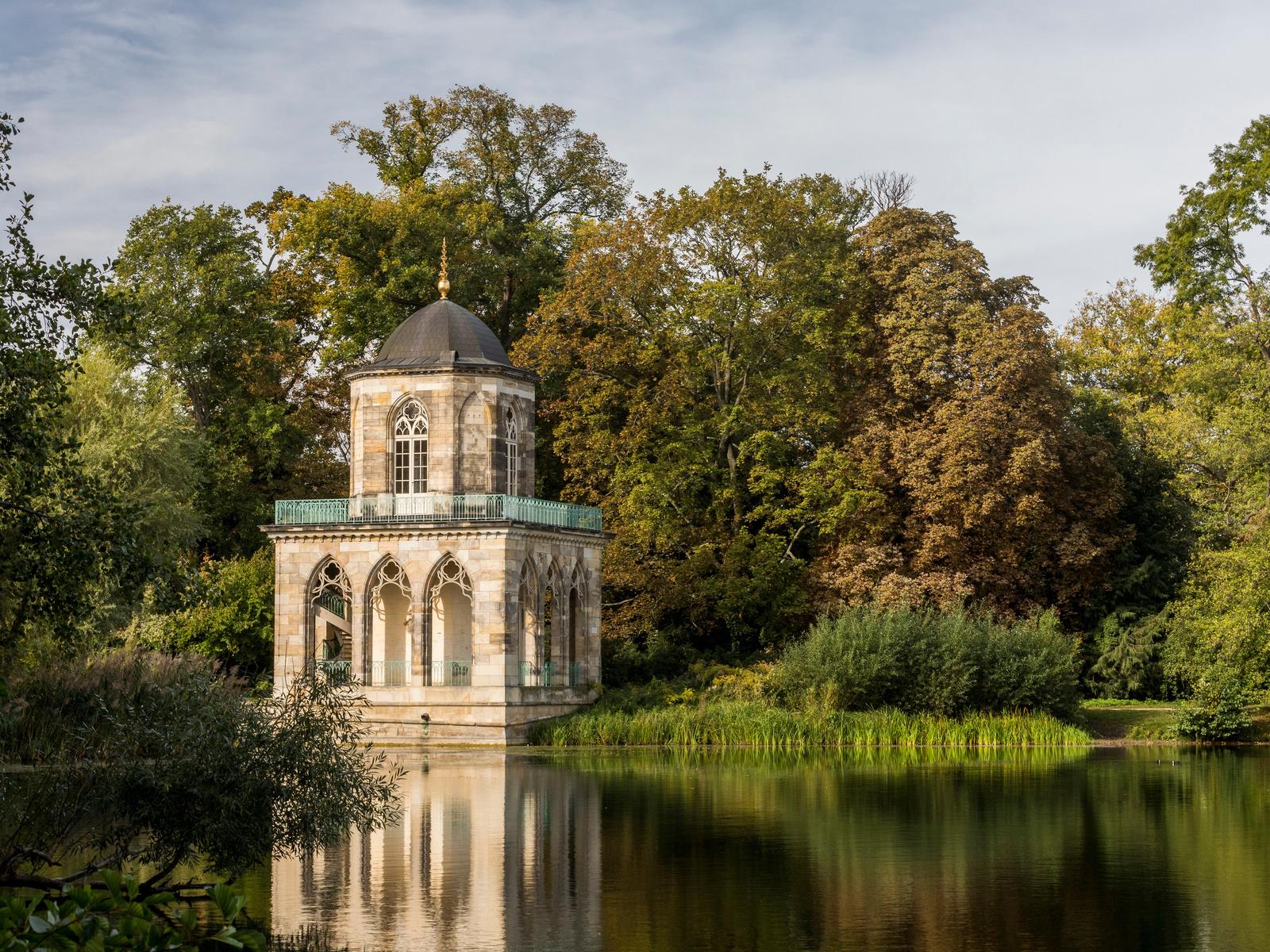 германия, потсдам, озеро, gotische bibliothek, деревья, библиотека, город