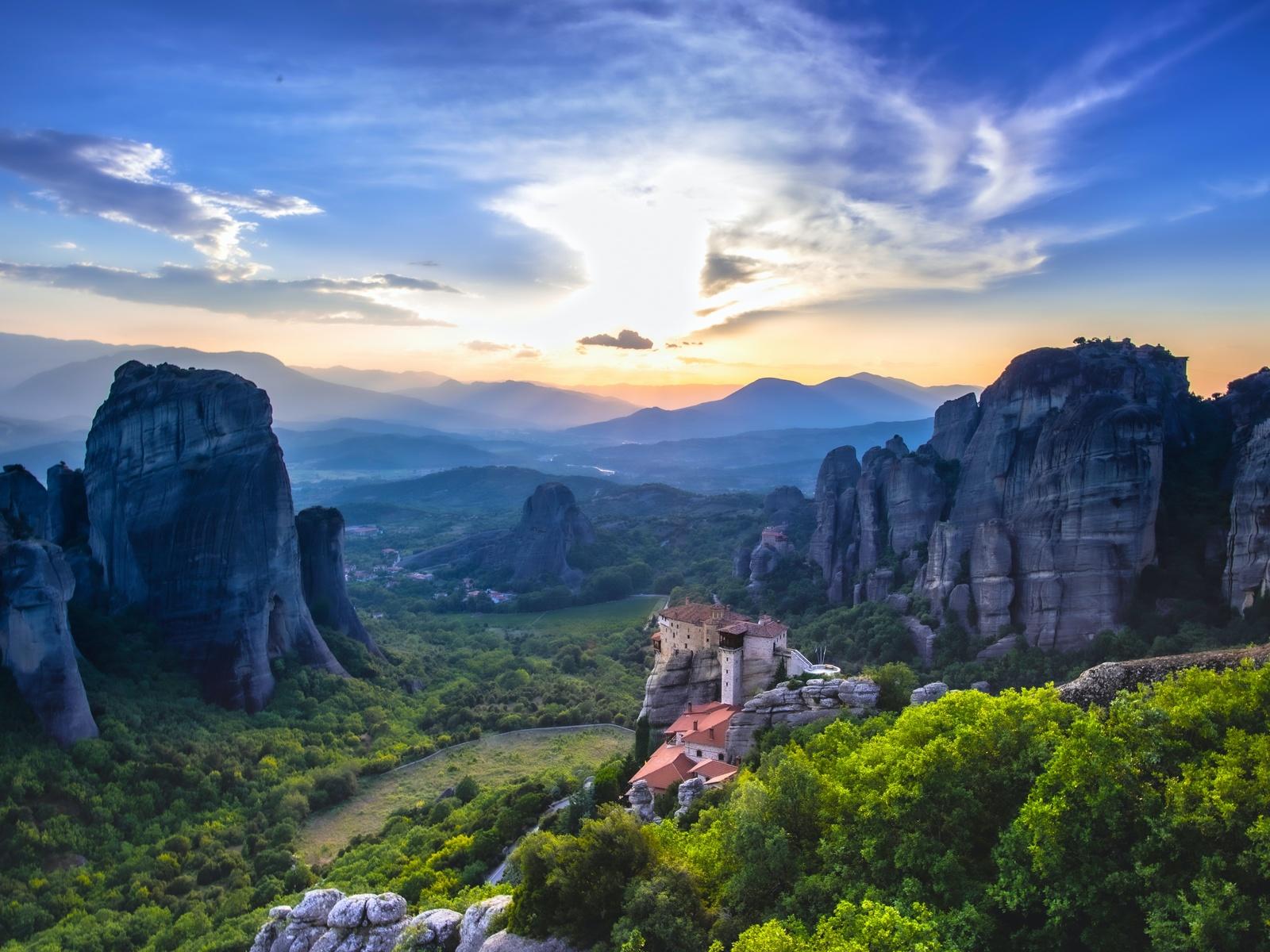 замок, скалы, долина, деревья