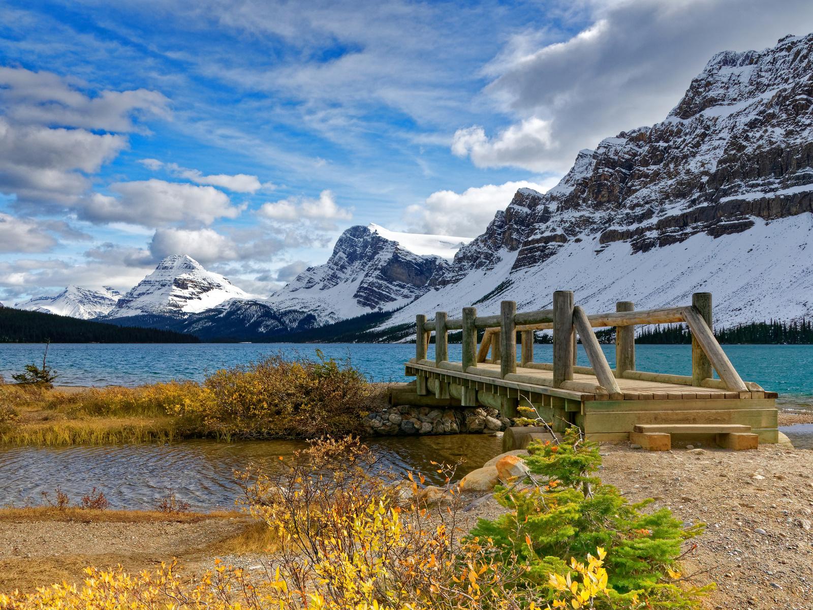 канада, горы, озеро, мост, банф, снег, природа