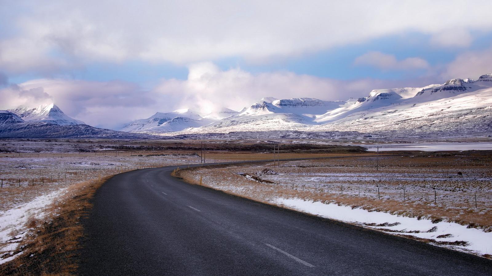 горы, снег, дорога