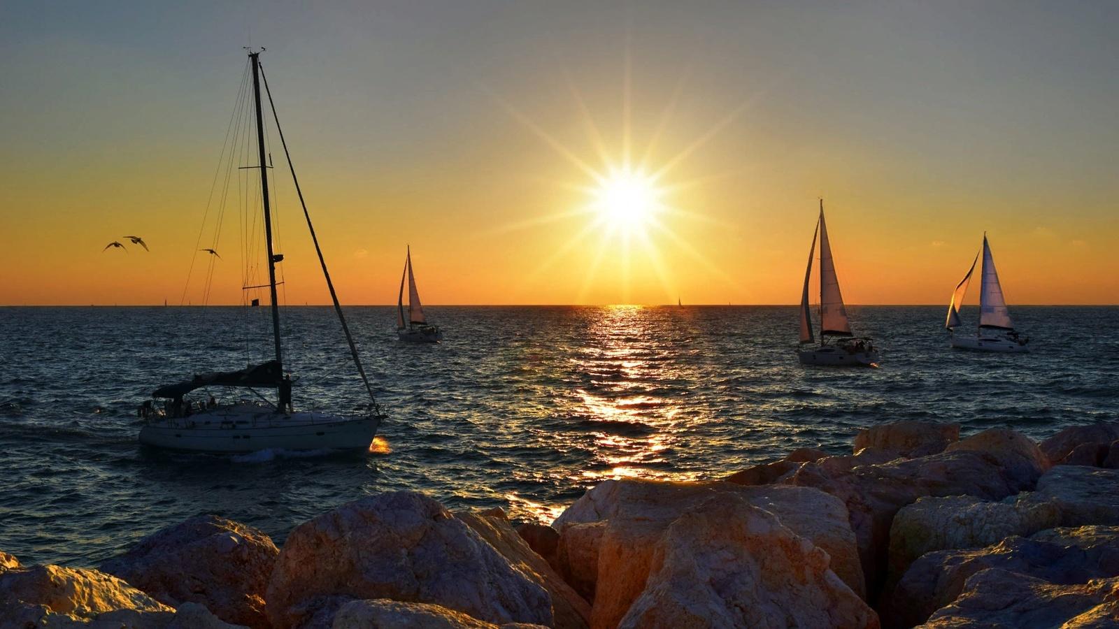 море, пейзаж, закат, природа, лодки, парусники