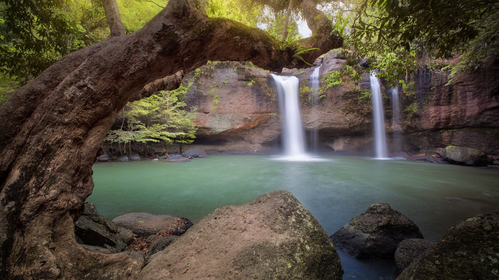 водопад, ручей, деревья, скалы