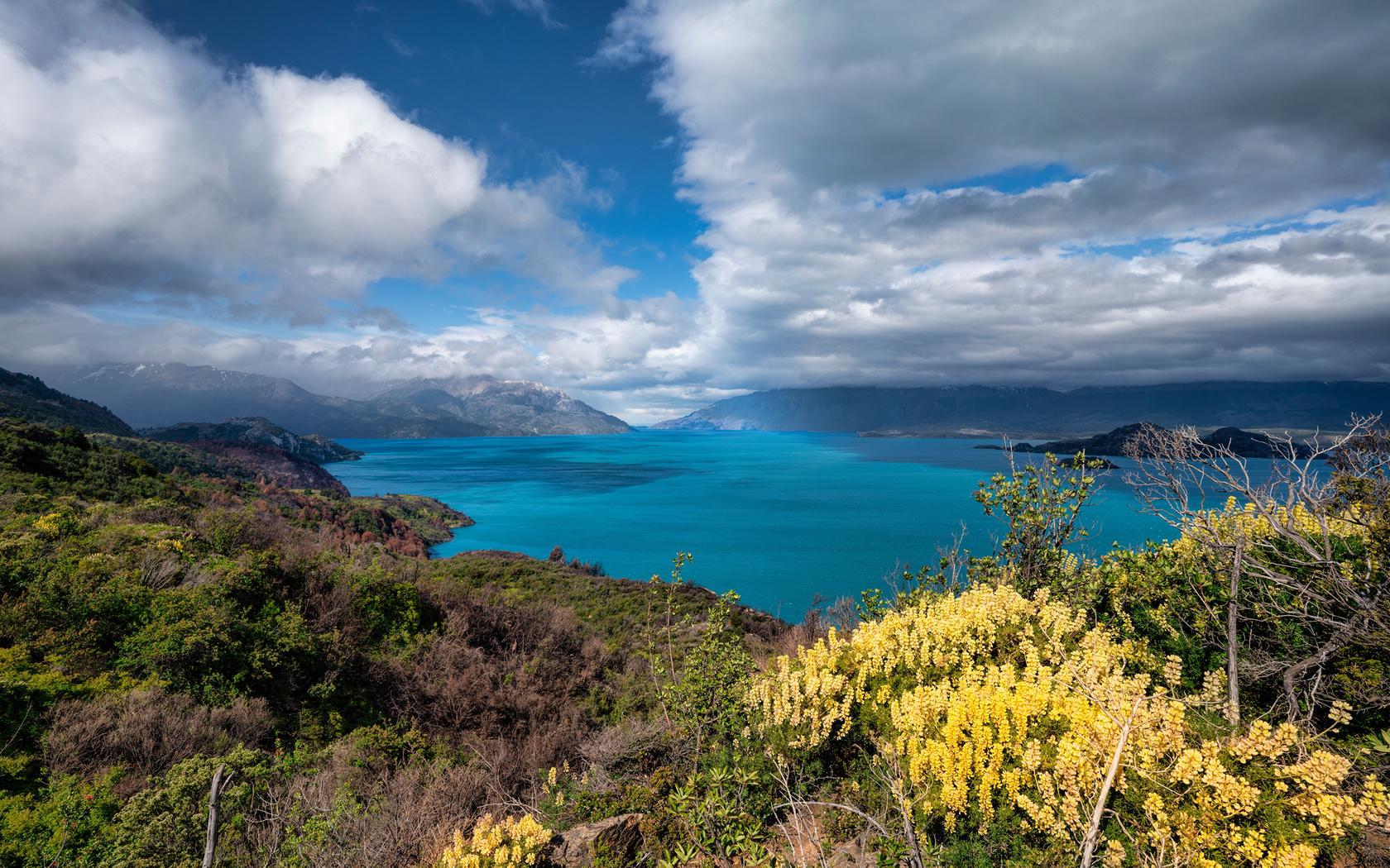 Чили, горы, озеро, lago, gral, carrera, облака, природа
