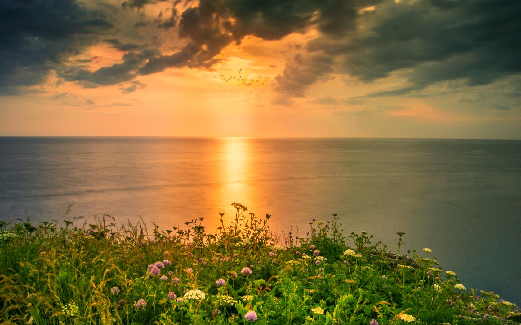 пейзаж, море, небо, закат