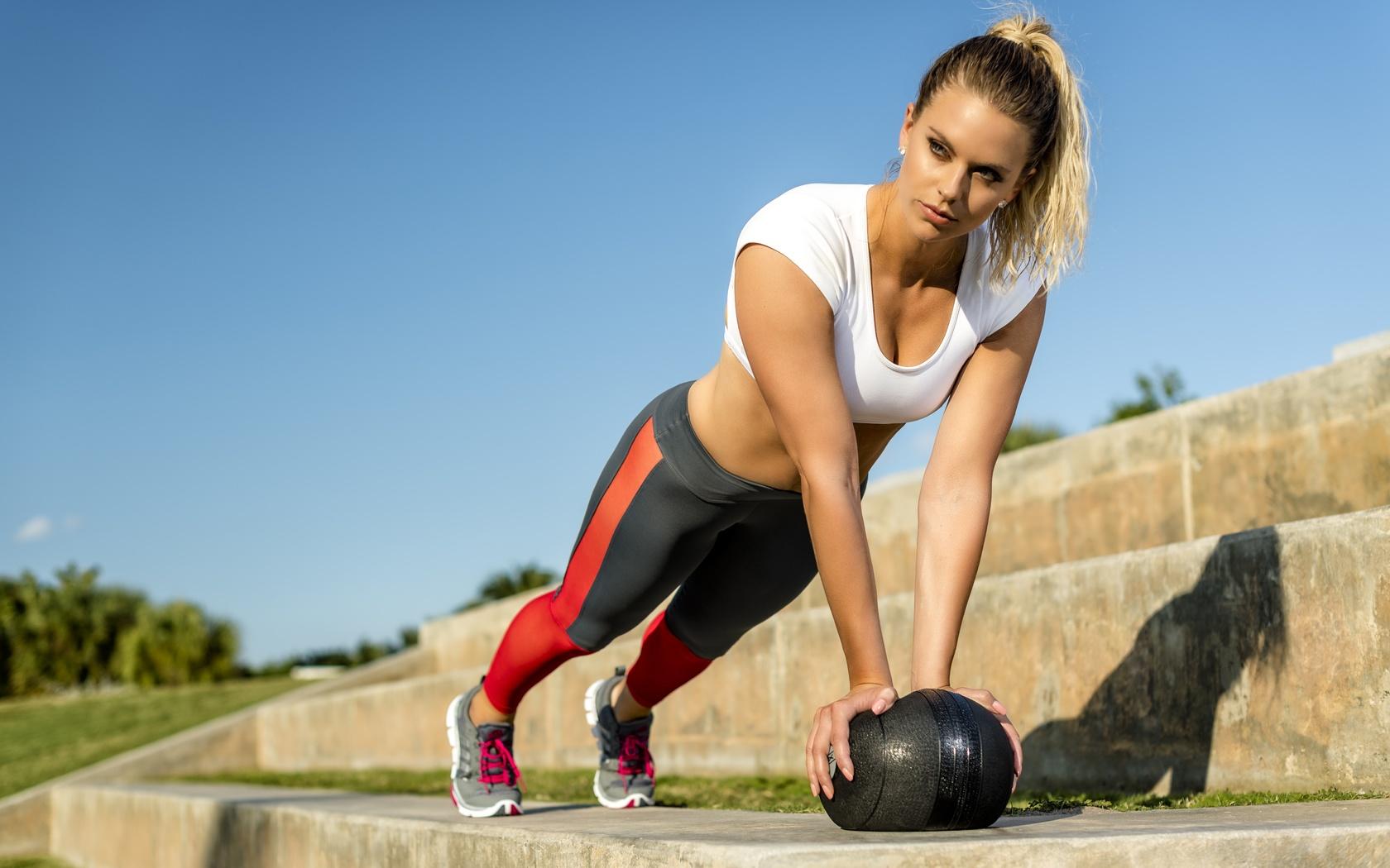 девушка, мяч, спорт