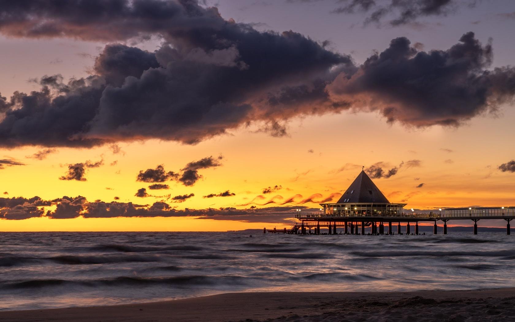 бунгало, пирс, закат, море, небо