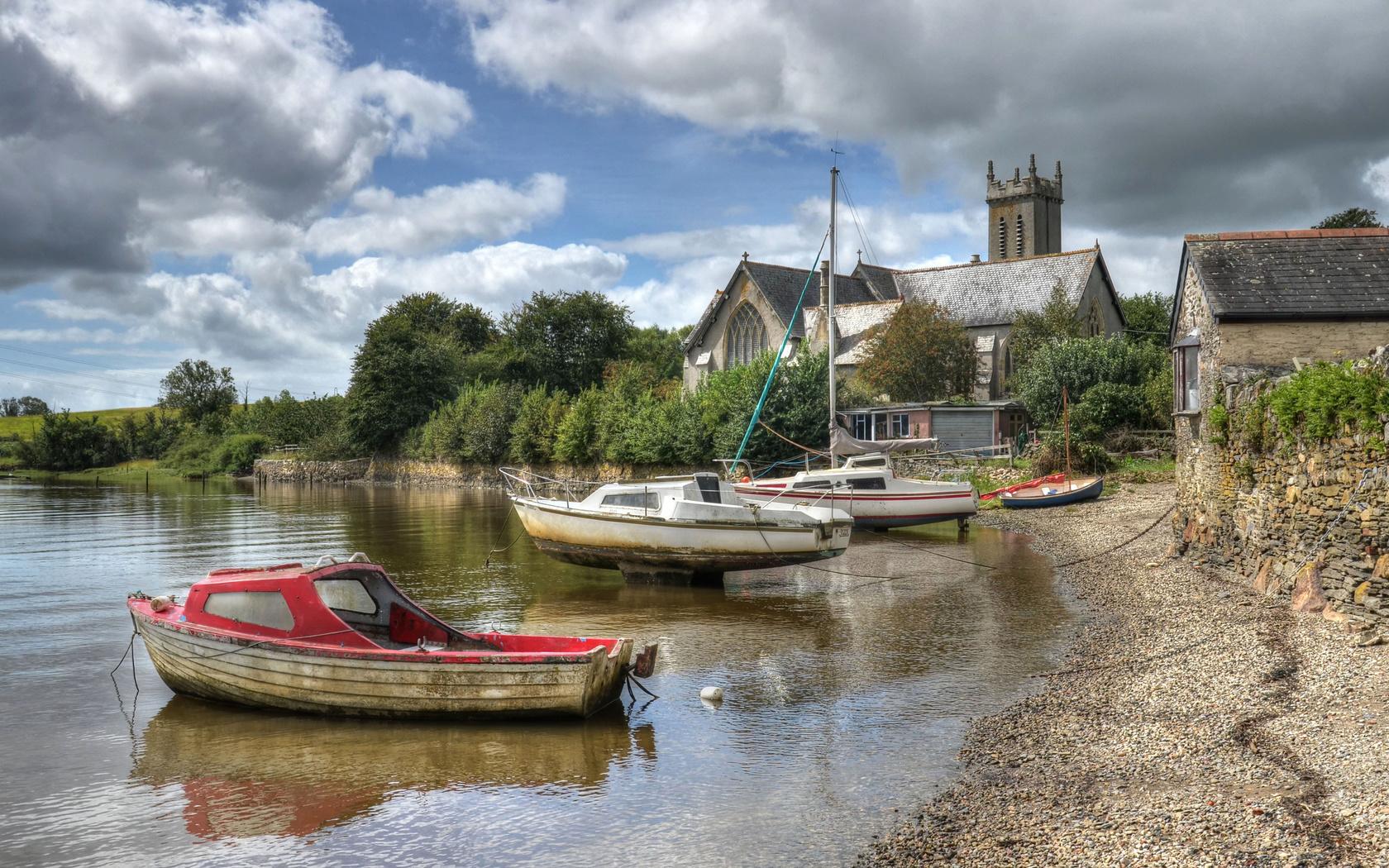 англия, дома, побережье, катера, лодки, river, tavy at bere, ferrers, devon, hdr, природа, город
