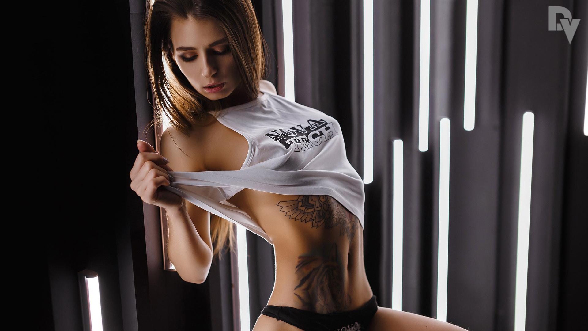 alena elizarova tanned, black, panties, tattoo, portrait